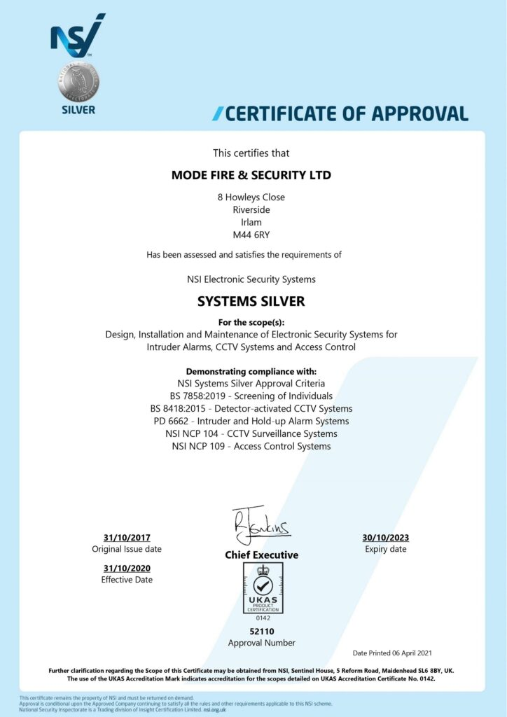 Mode Fire & Security NSI Silver Certification